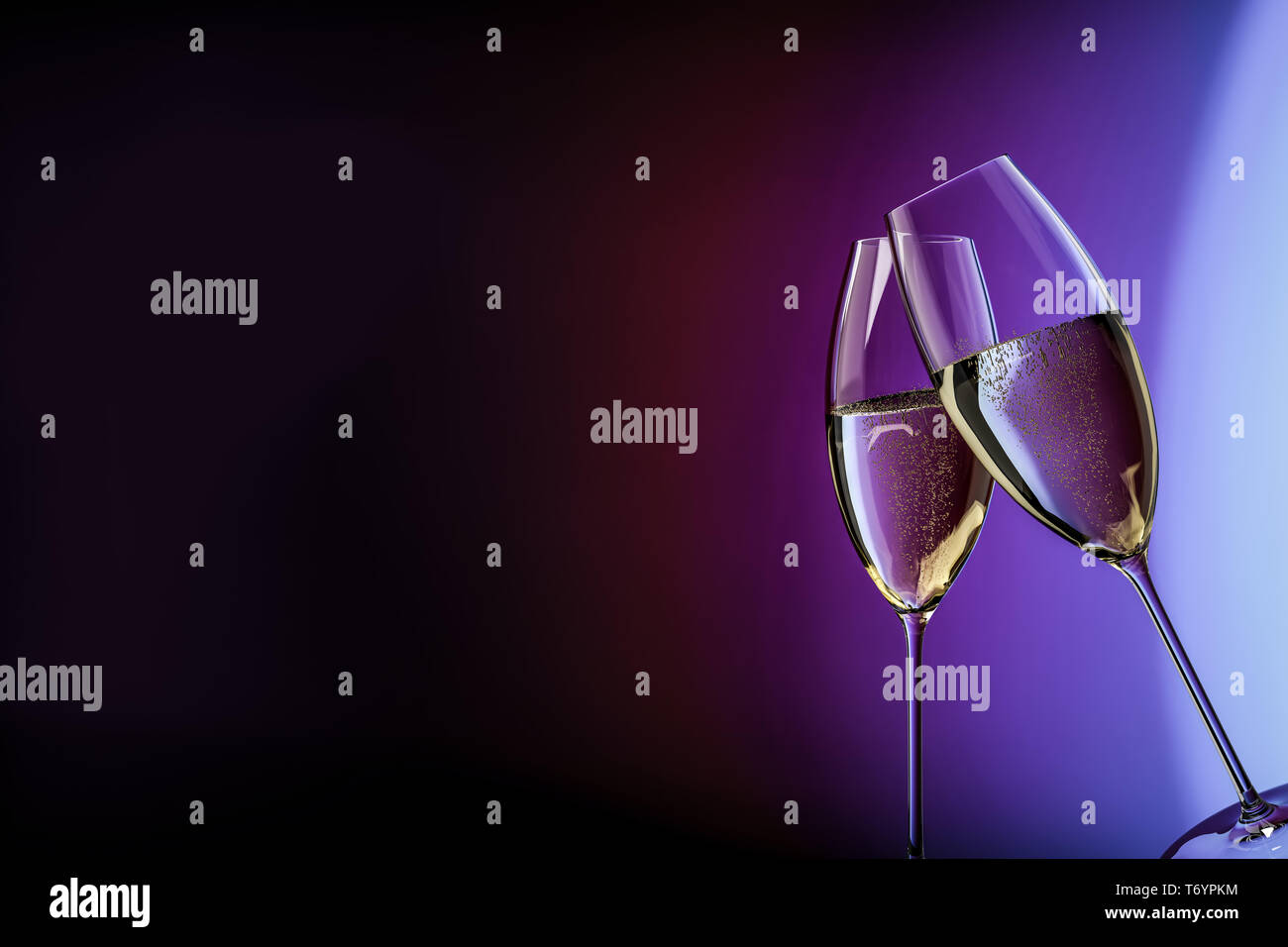 champagne glasses happy birthday clink glasses - Stock Image