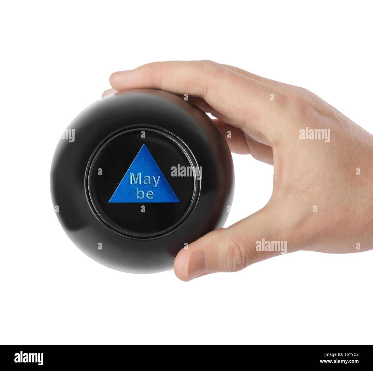 Magic ball with prediction Maybe in hand - Stock Image
