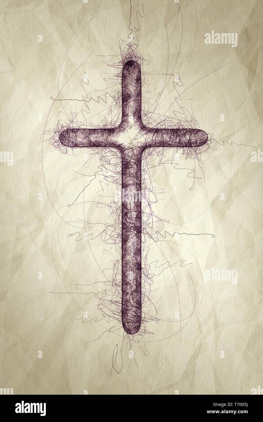 holy cross ballpoint pen scribble - Stock Image