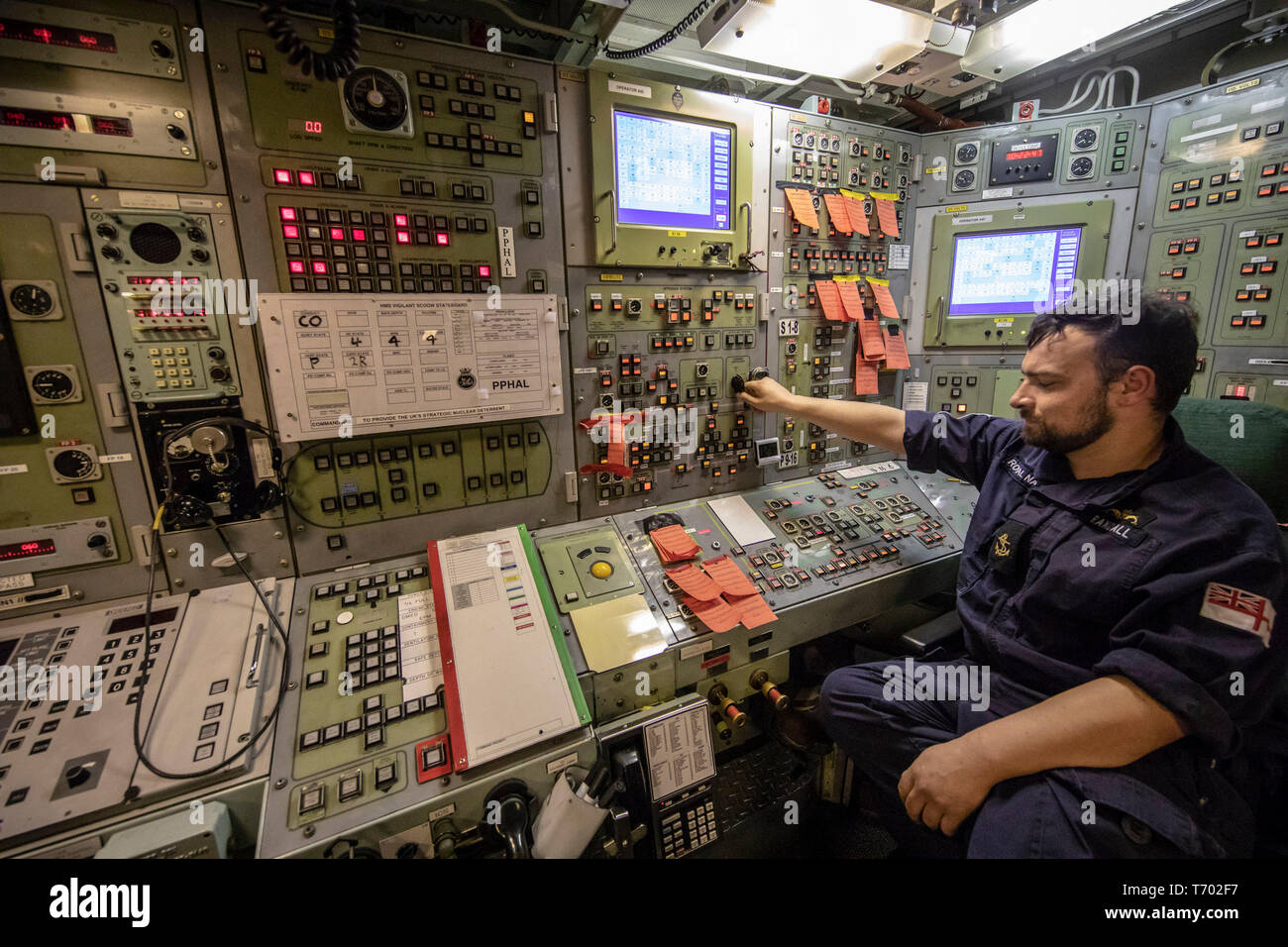 Leading Engineering Technician Chris Randall onboard HMS Vigilant at HM Naval Base Clyde, Faslane, the Vanguard-class submarine carries the UK's Trident nuclear deterrent. - Stock Image