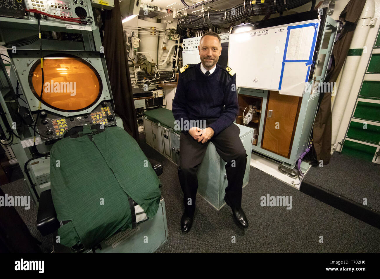 Commodore Bob Anstey, on board HMS Vigilant at HM Naval Base Clyde, Faslane, the Vanguard-class submarine carries the UK's Trident nuclear deterrent. - Stock Image