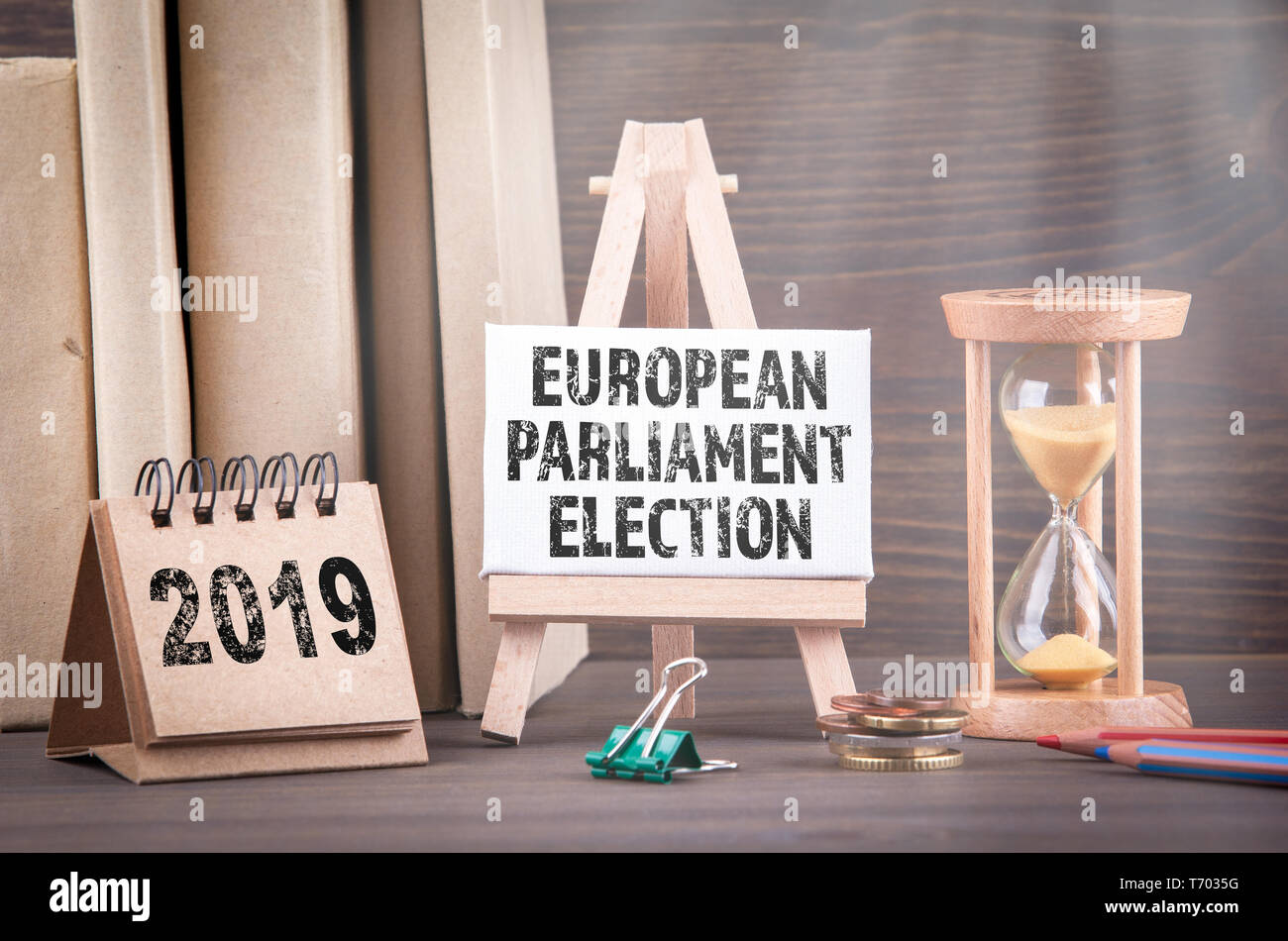 2019 European Parliament Election. Sandglass, hourglass or egg timer - Stock Image