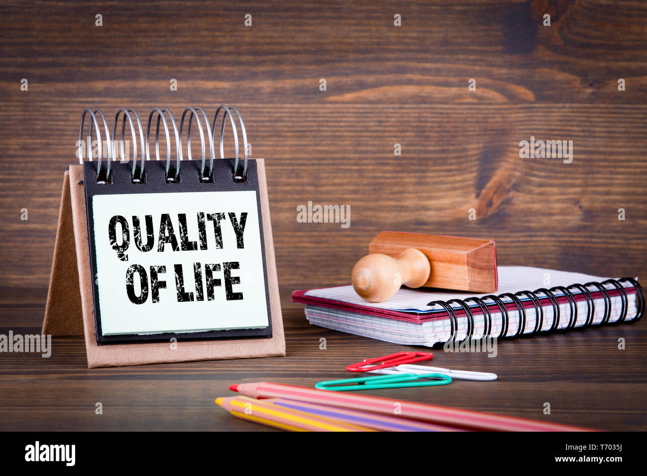 Quality Of Life. Business, profit, career or education background - Stock Image