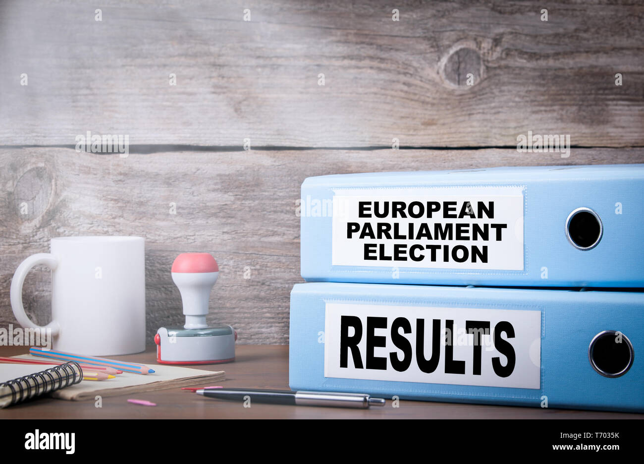 European Parliament Election and results. Two binders on desk in the office - Stock Image