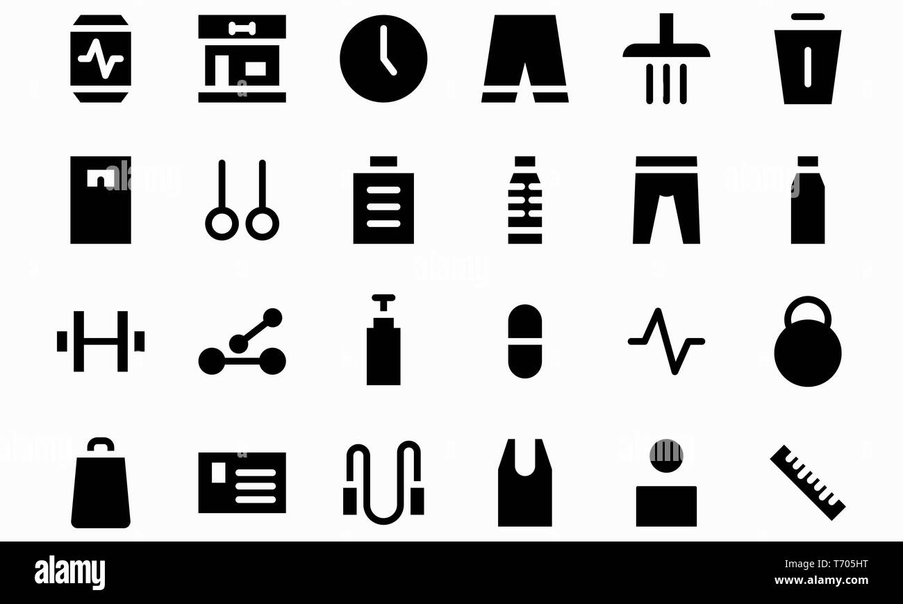 Fitness glyph black icon set vector illustration. Editable stroke and color. Stock Photo