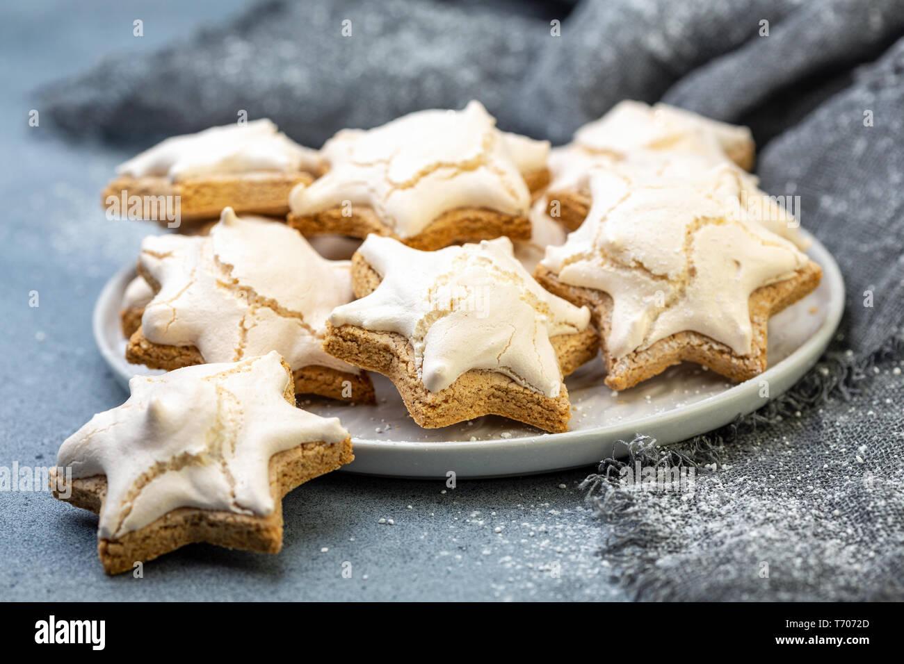 Traditional German Christmas Almond Cookies With Cinnamon Stock
