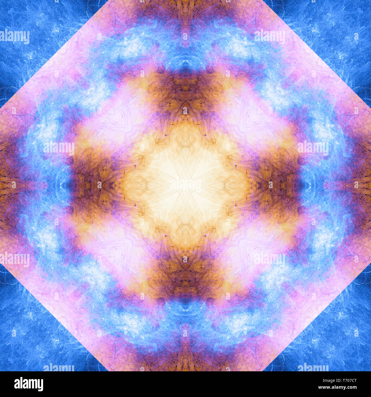 Art psychedelic pattern. Abstract symmetric colorful background. - Stock Image