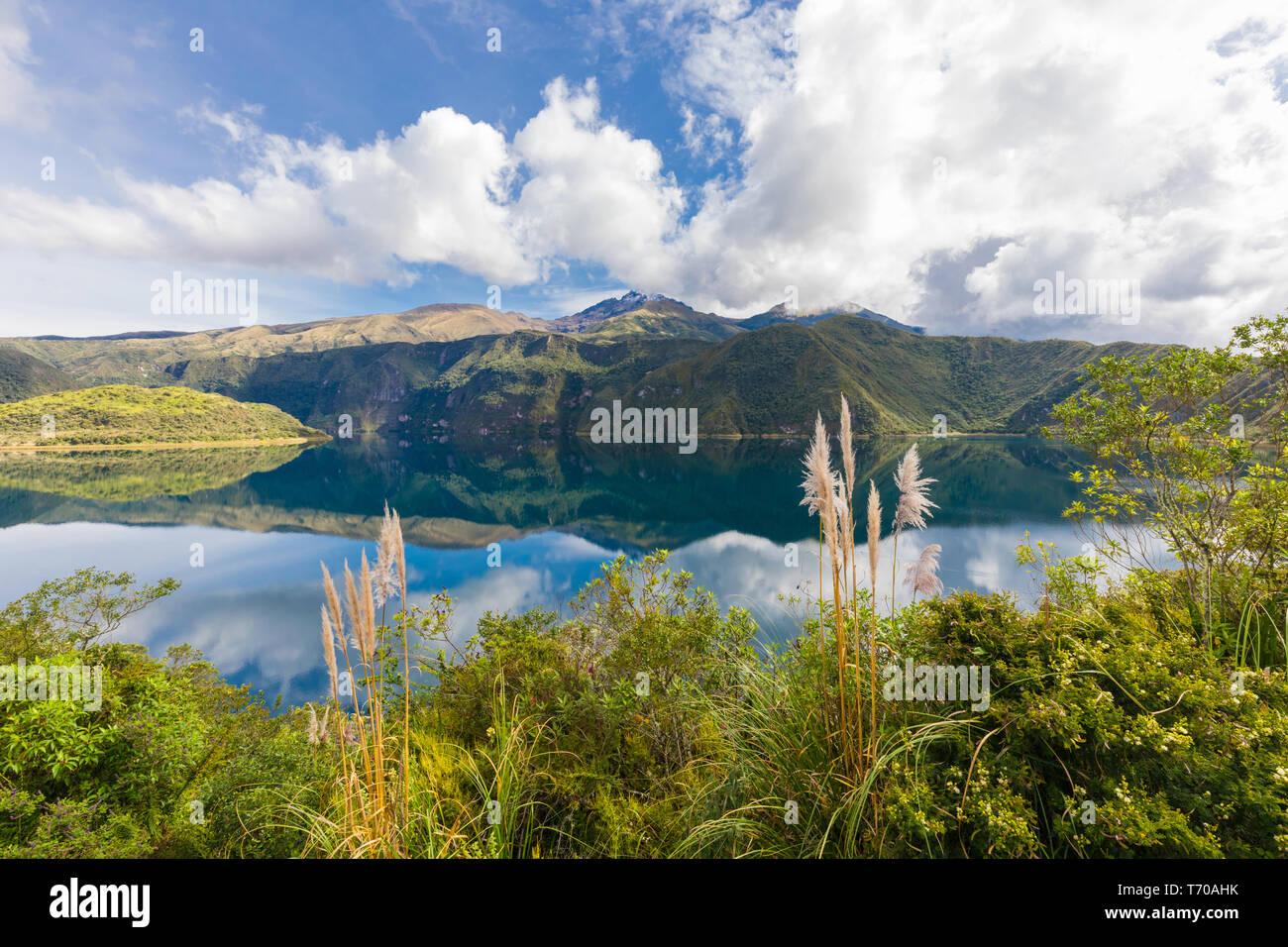 Laguna of Cuicocha and Cotacachi volcan Ecuador Stock Photo