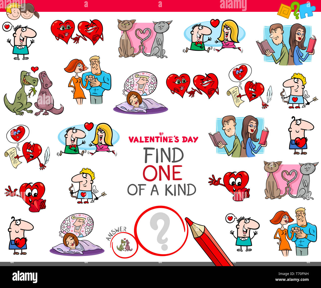 find one of a kind Valentines clip art Stock Photo
