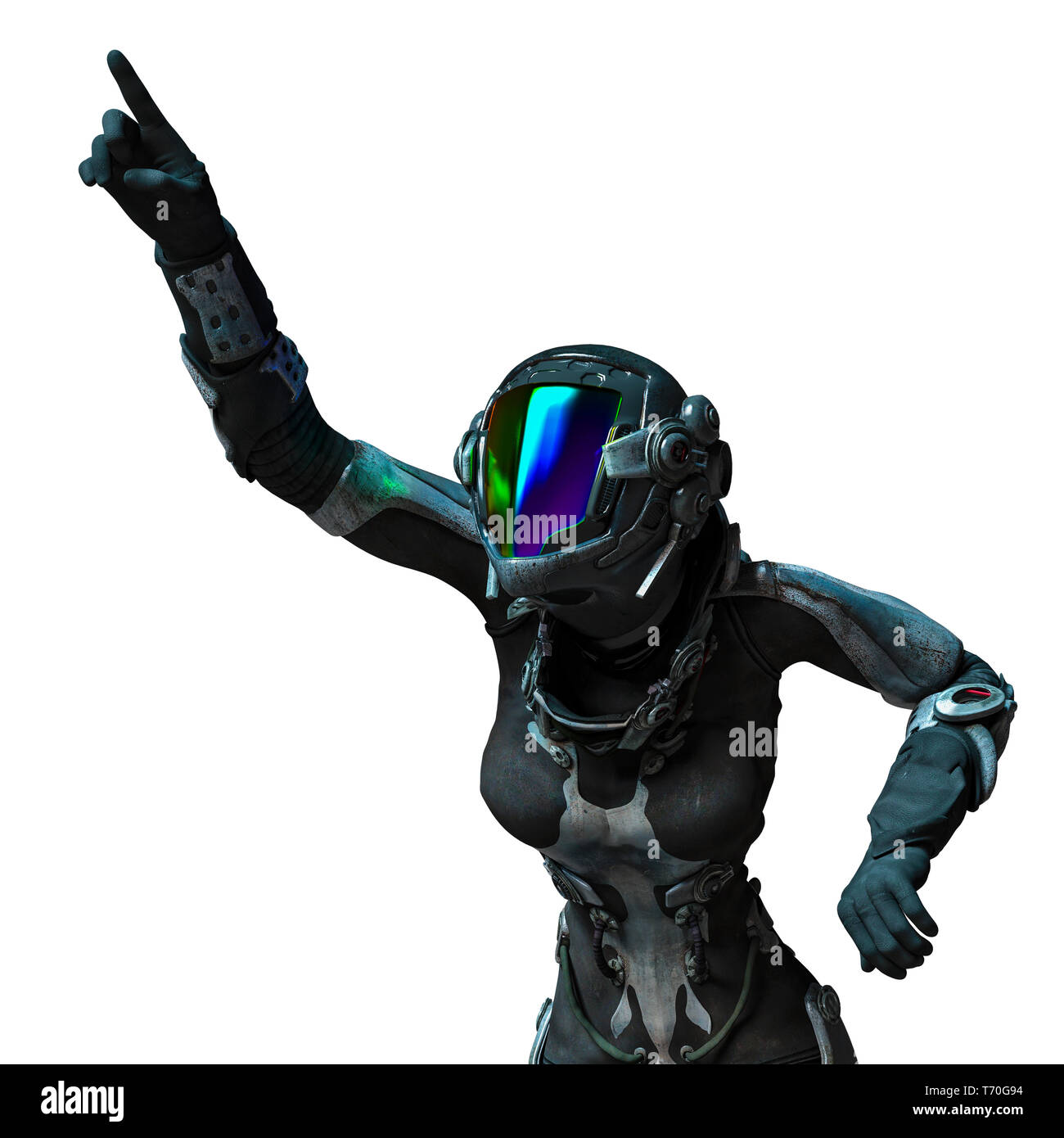 this is the apocalyptic astronaut girl exploring arround. This girl will put some fun in yours creations - Stock Image