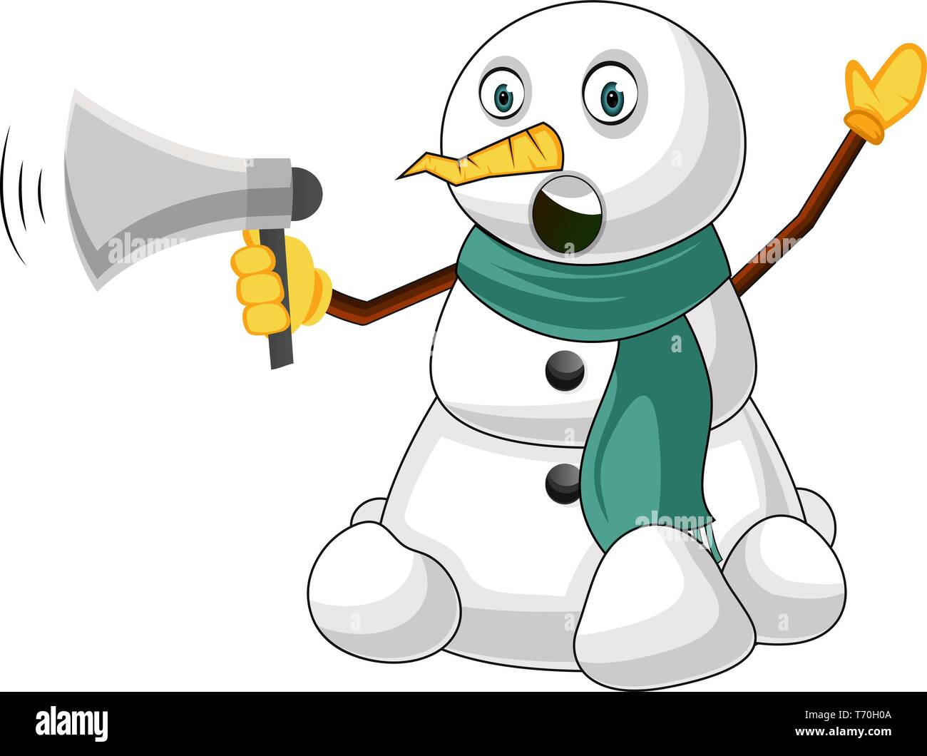 Snowman with megaphone illustration vector on white background - Stock Vector