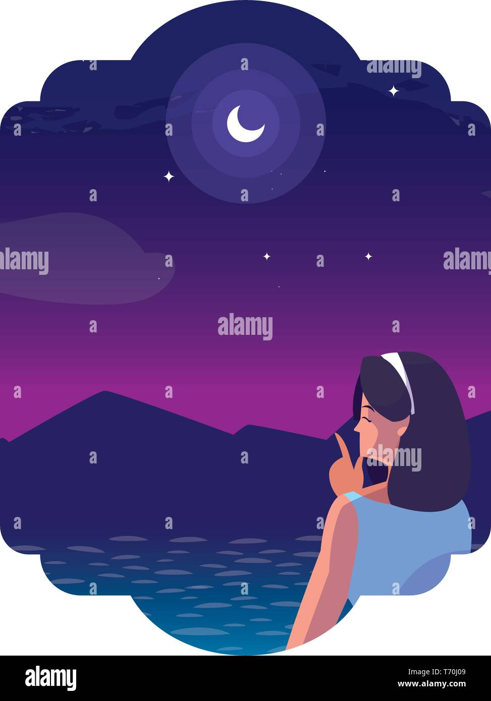 woman contemplating horizon in lake and mountains at night vector illustration - Stock Vector