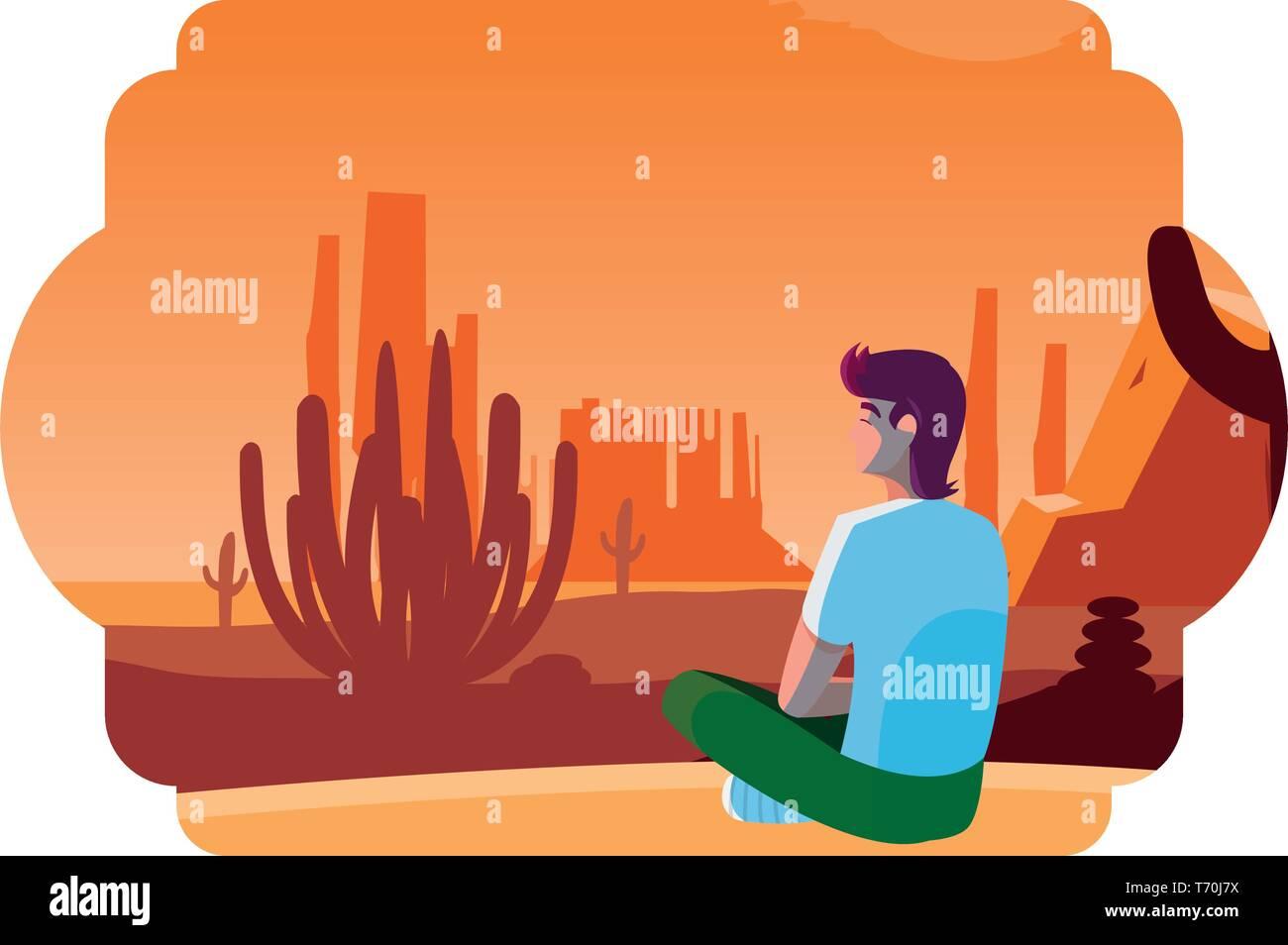 man contemplating horizon in the desert scene vector illustration design - Stock Vector