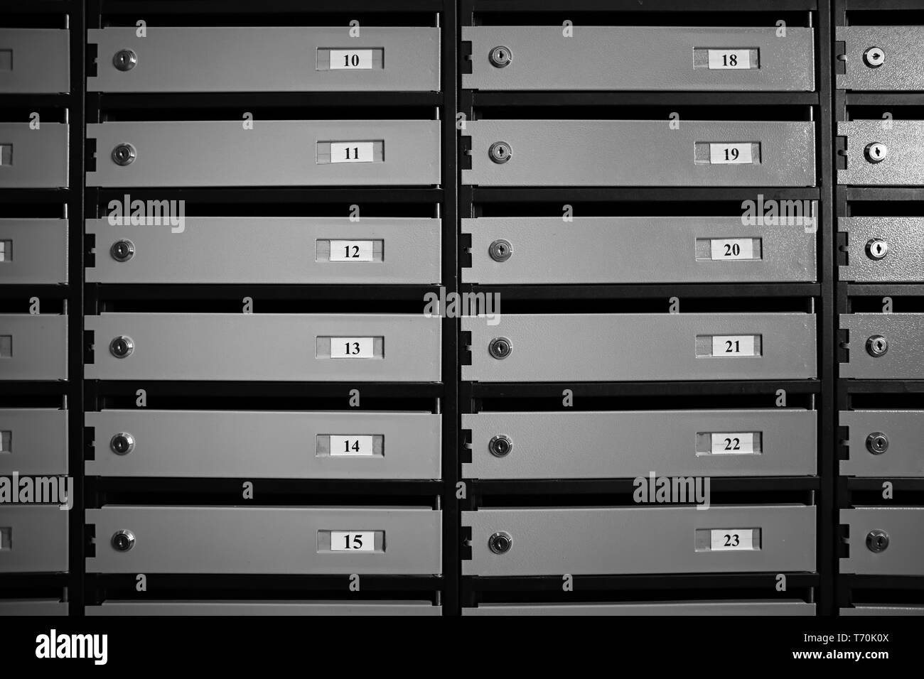 Mailboxes in residential building Stock Photo