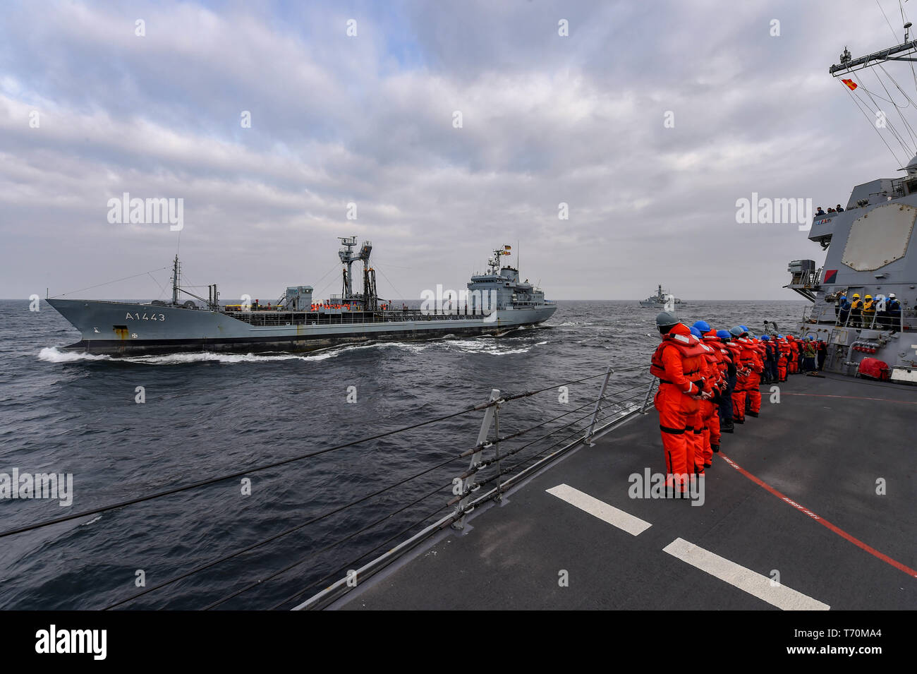 190502-N-JX484-071 BALTIC SEA (May 2, 2019) Sailors man the