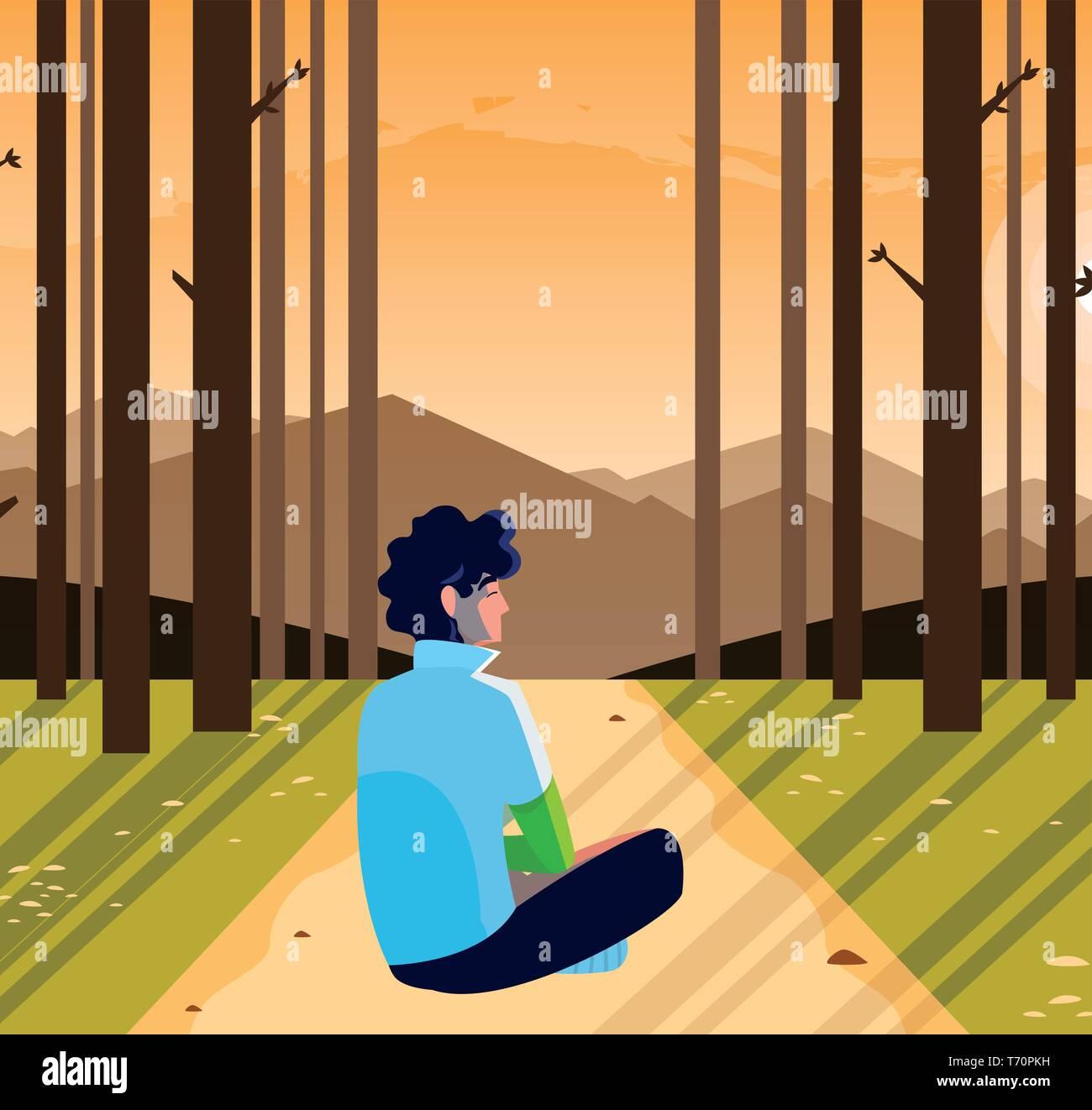 man contemplating horizon in the forest scene vector illustration design - Stock Vector