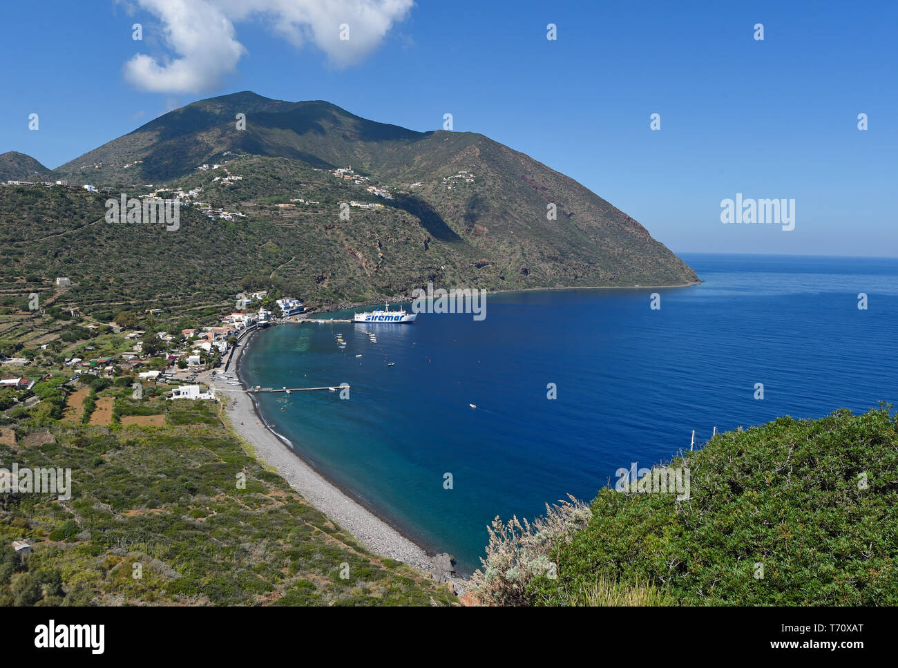 View on Filicudi village, Filicudi, Aeolian islands, Sicily, Italy Stock Photo