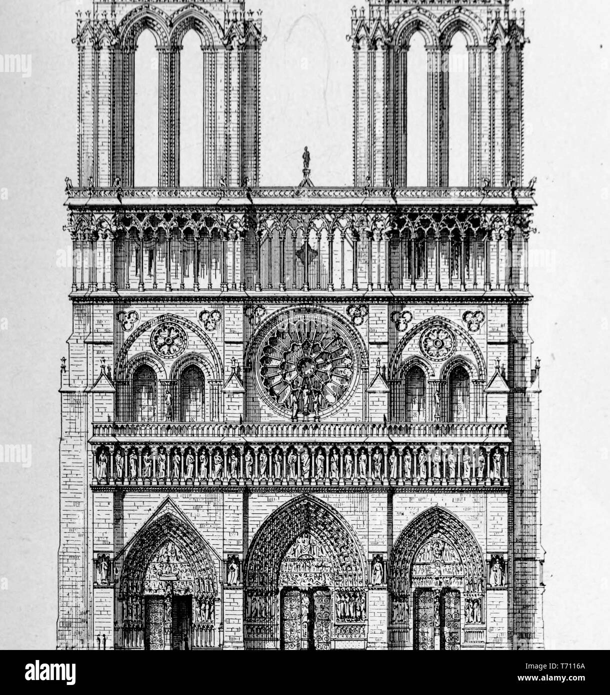 Engraved illustration of the Notre-Dame, medieval Catholic cathedral in Paris, France, from the book 'L'architecture' by Anatole de Baudot, 1916. Courtesy Internet Archive. () Stock Photo