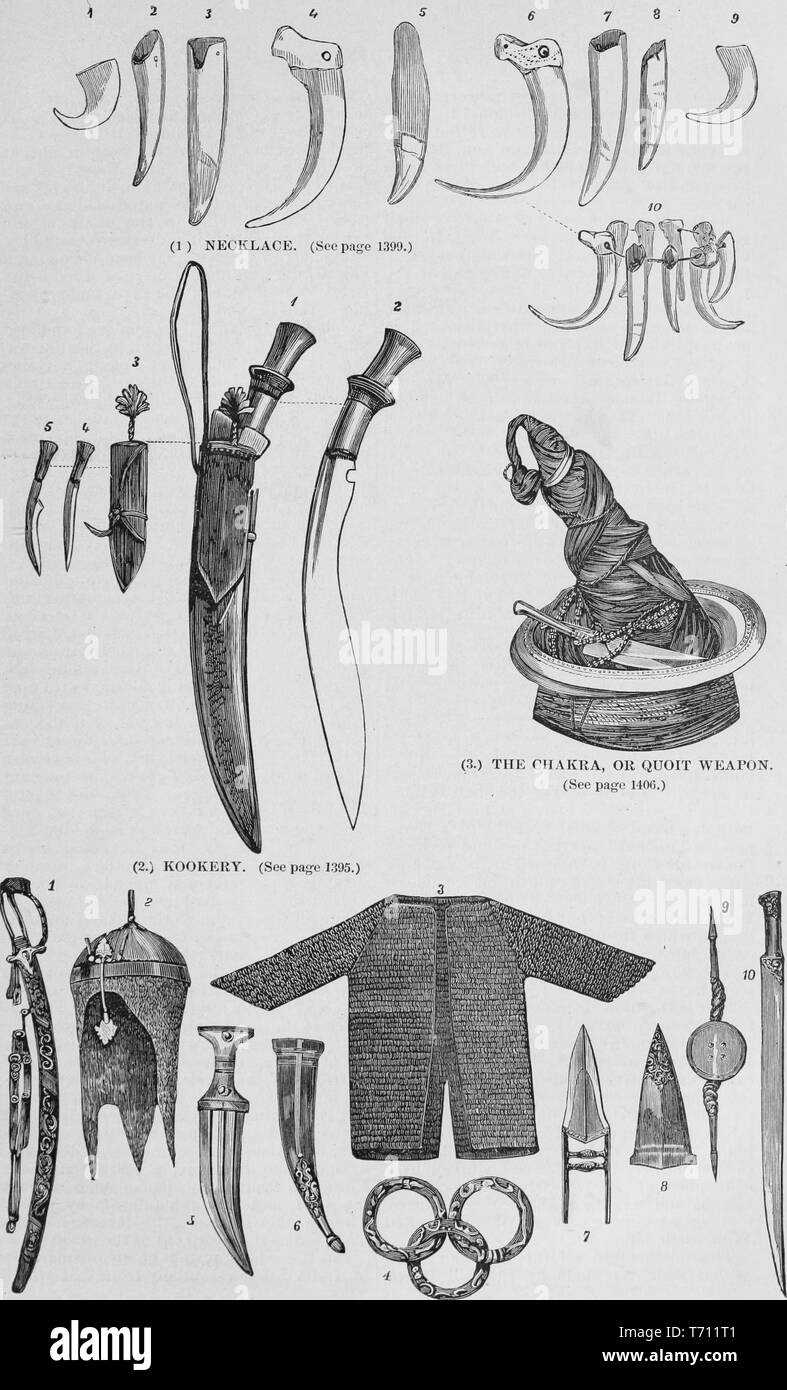 Black and white vintage print, depicting Indian weaponry and armor: including tiger, crocodile, and sloth-bear teeth used to make a 'Necklace' (top); a Ghurka 'Kookery' knife, with a curved blade and hilt (middle left); a hat with knives tucked into the side and 'The Chakra or Quoit Weapon, ' a sharpened metal ring, slung over the peak (middle right); and variety of swords, knives, spearheads, and armor (bottom row) published in John George Wood's volume 'The uncivilized races of men in all countries of the world, being a comprehensive account of their manners and customs, and of their physica - Stock Image