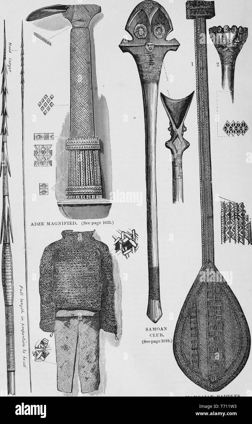 Black and white vintage print, depicting a variety of Oceanic implements and armor: including (left) a Mangaian 'Adze Magnified' to show the sharp point and weaving; a full suit of armor woven from coconut fibers (lower left); a carved 'Samoan Club' (right middle); and a Mangaian paddle (right) published in John George Wood's volume 'The uncivilized races of men in all countries of the world, being a comprehensive account of their manners and customs, and of their physical, social, mental, moral and religious characteristics', 1877. Courtesy Internet Archive. () - Stock Image