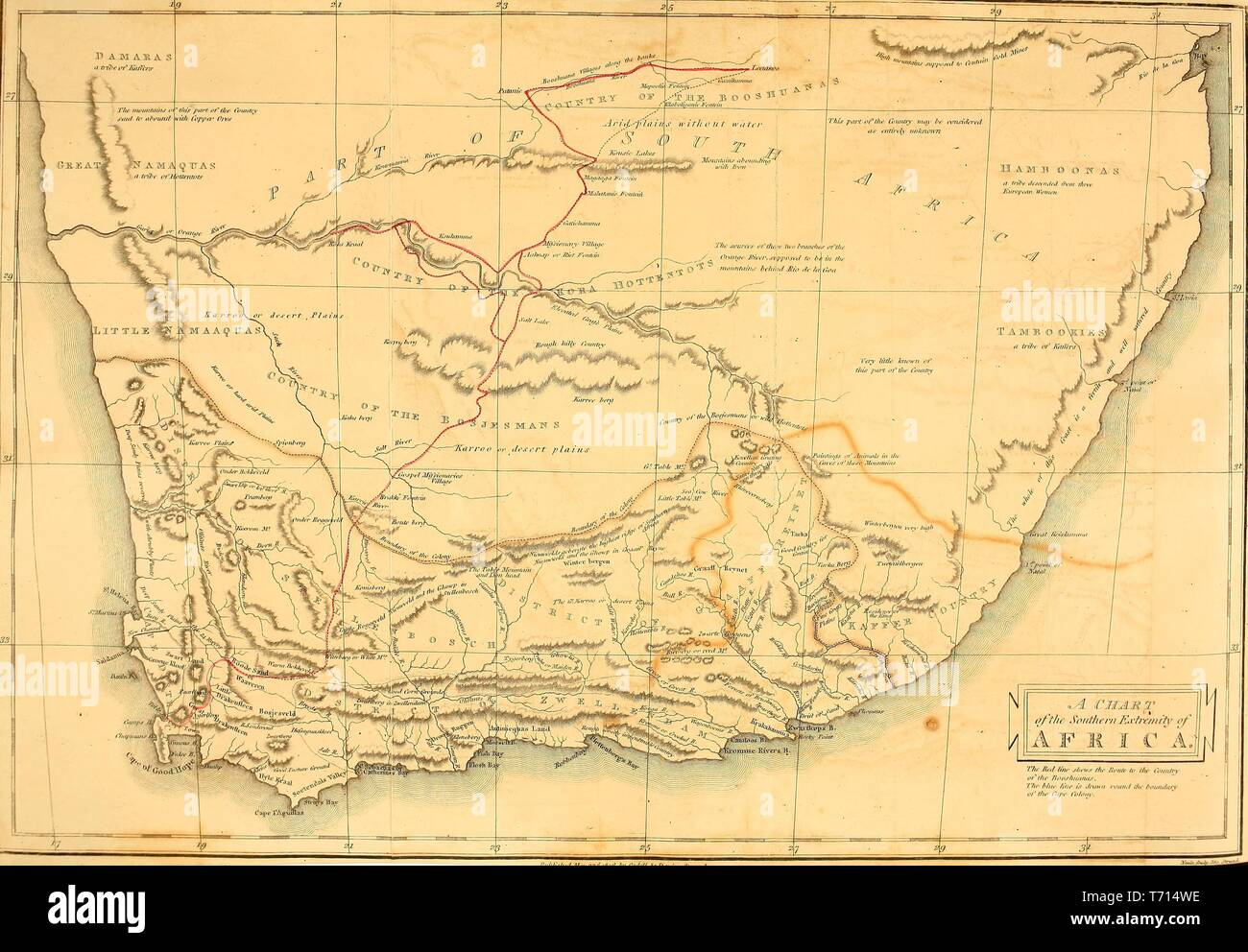 Illustrated map of southern Africa, from the book 'A voyage to Cochinchina' by Sir John Barrow, 1825. Courtesy Internet Archive. () - Stock Image