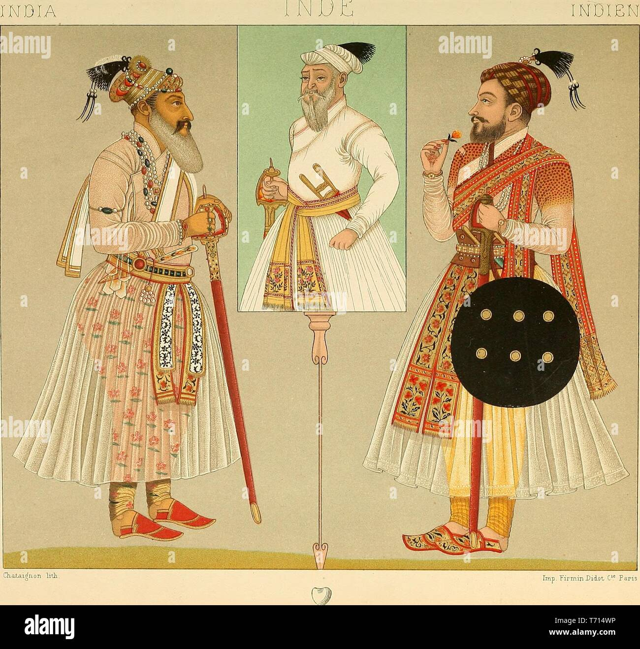 Illustrated drawing of Indian male folk costumes, from the book 'Le costume historique' by Auguste Racinet, 1888. Courtesy Internet Archive. () - Stock Image