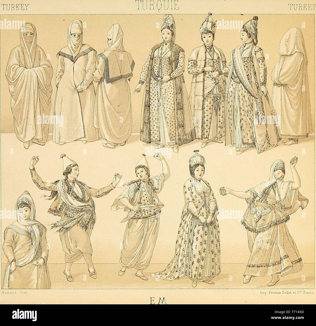 Illustrated drawing of Turkish feminine folk costumes, from the book 'Le costume historique' by Auguste Racinet, 1888. Courtesy Internet Archive. () - Stock Image