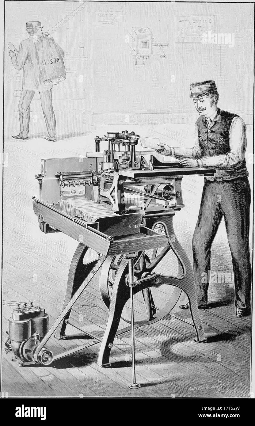 Engraving of a postal worker using the Letter Marking Machine, manufactured by International Postal Supply Co. from the book 'Modern Mechanism' by Park Benjamin, 1892. Courtesy Internet Archive. () - Stock Image