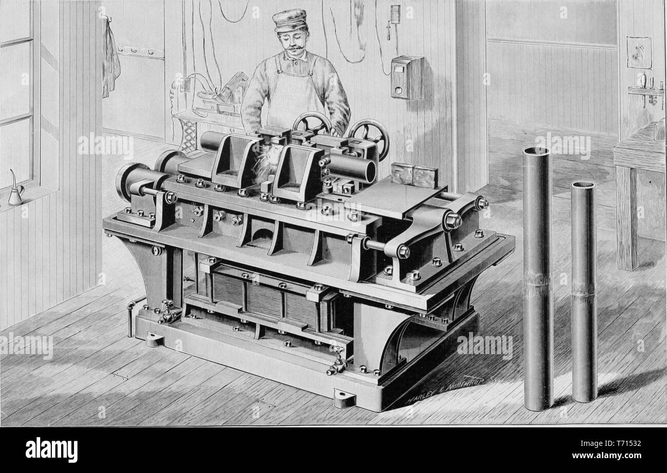 Engraving of the Thomson process of electric welding, from the book 'Modern Mechanism' by Park Benjamin, 1892. Courtesy Internet Archive. () - Stock Image