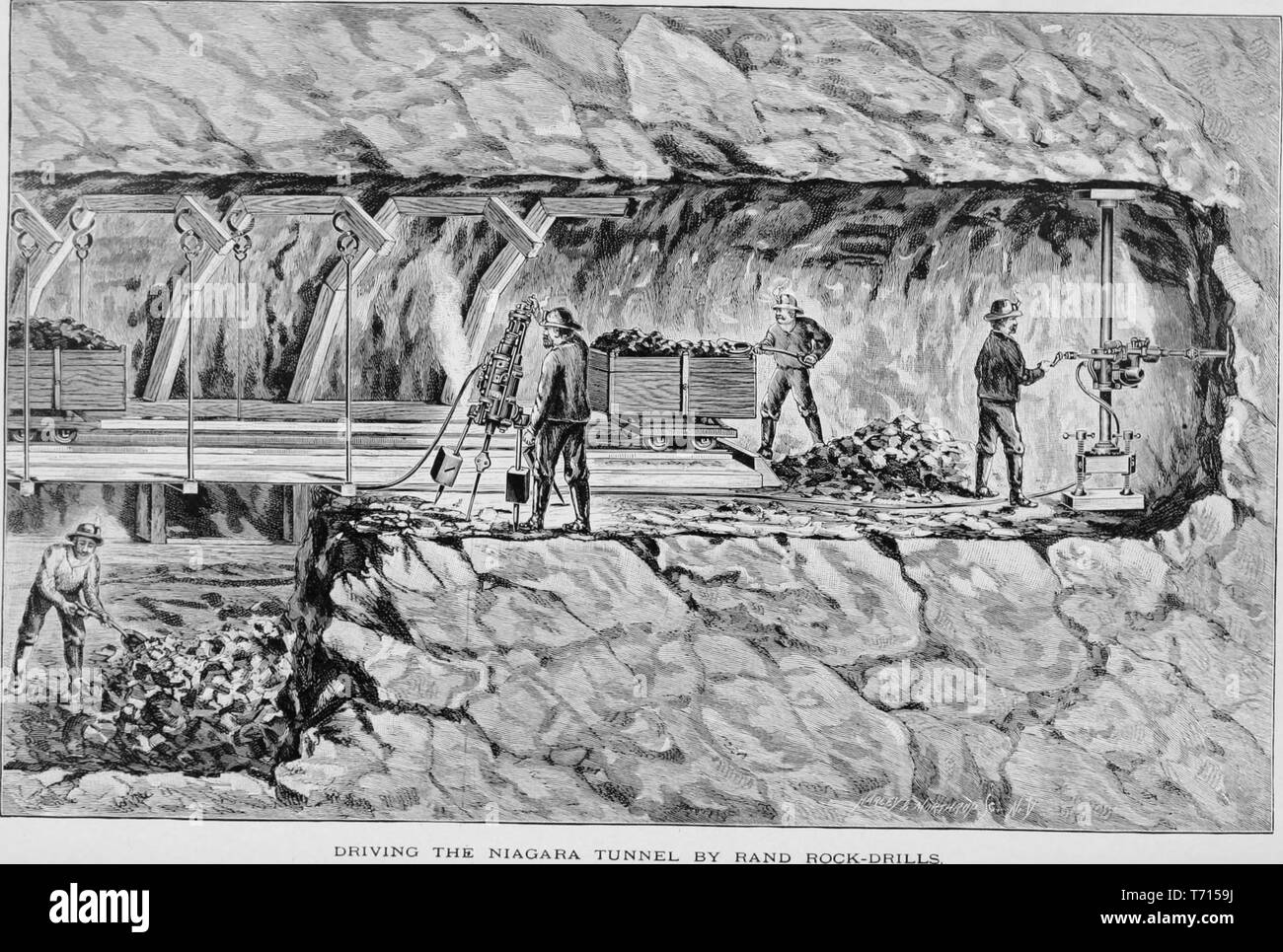Engraving of driving the Niagara tunnel by Rand rock drills, from the book 'Modern Mechanism' by Park Benjamin, 1892. Courtesy Internet Archive. () - Stock Image