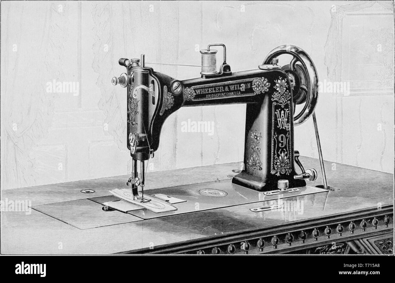 Engraving of the Wheeler and Wilson sewing machine, from the book 'Modern Mechanism' by Park Benjamin, 1892. Courtesy Internet Archive. () - Stock Image
