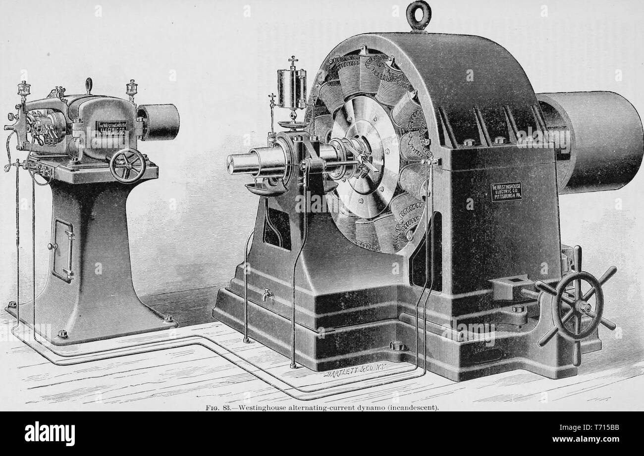 Engraving of the Westinghouse alternating-current dynamo machine, from the book 'Modern Mechanism' by Park Benjamin, 1892. Courtesy Internet Archive. () - Stock Image
