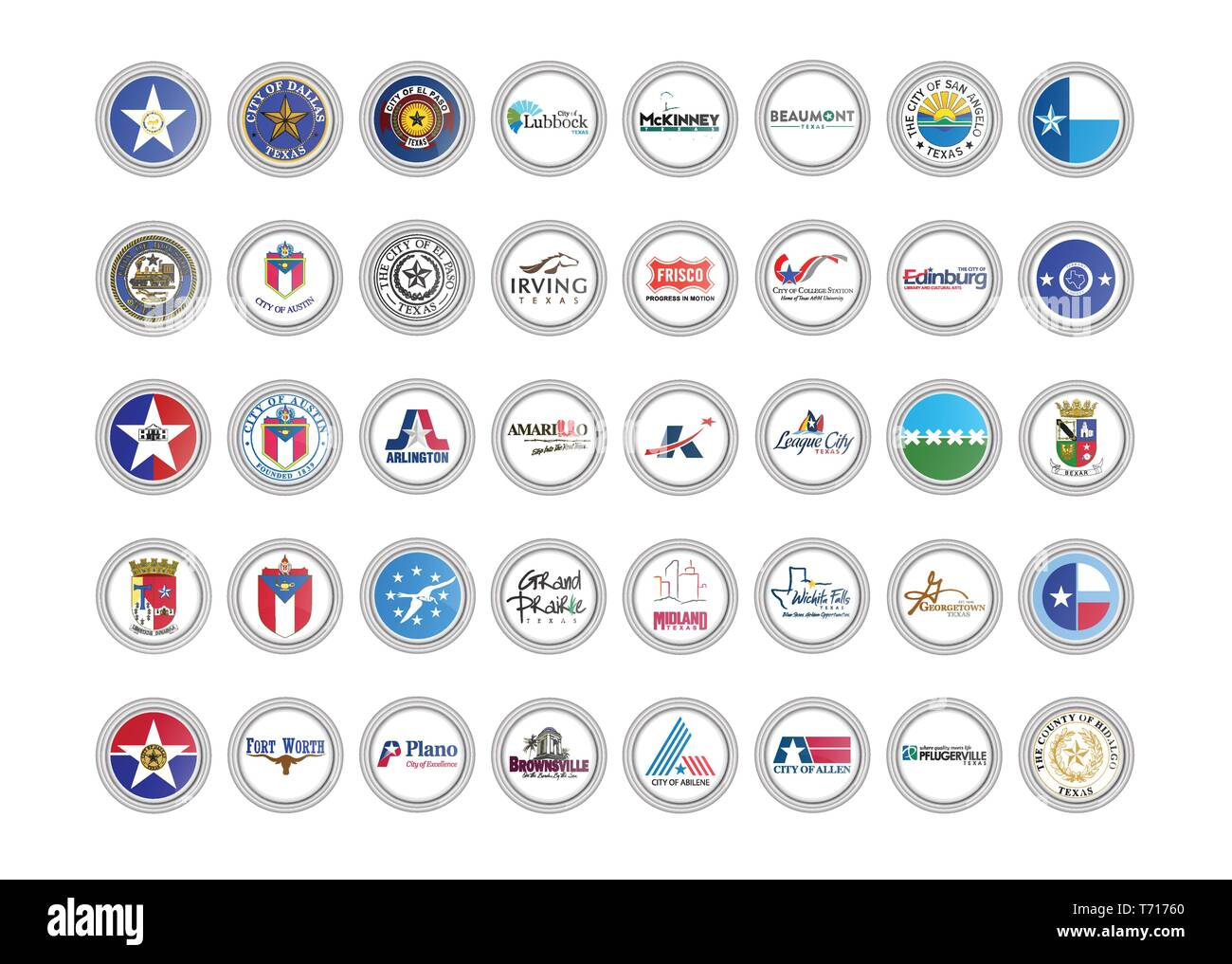 Set of vector icons. Flags and seals of Texas state, USA. 3D illustration. - Stock Image