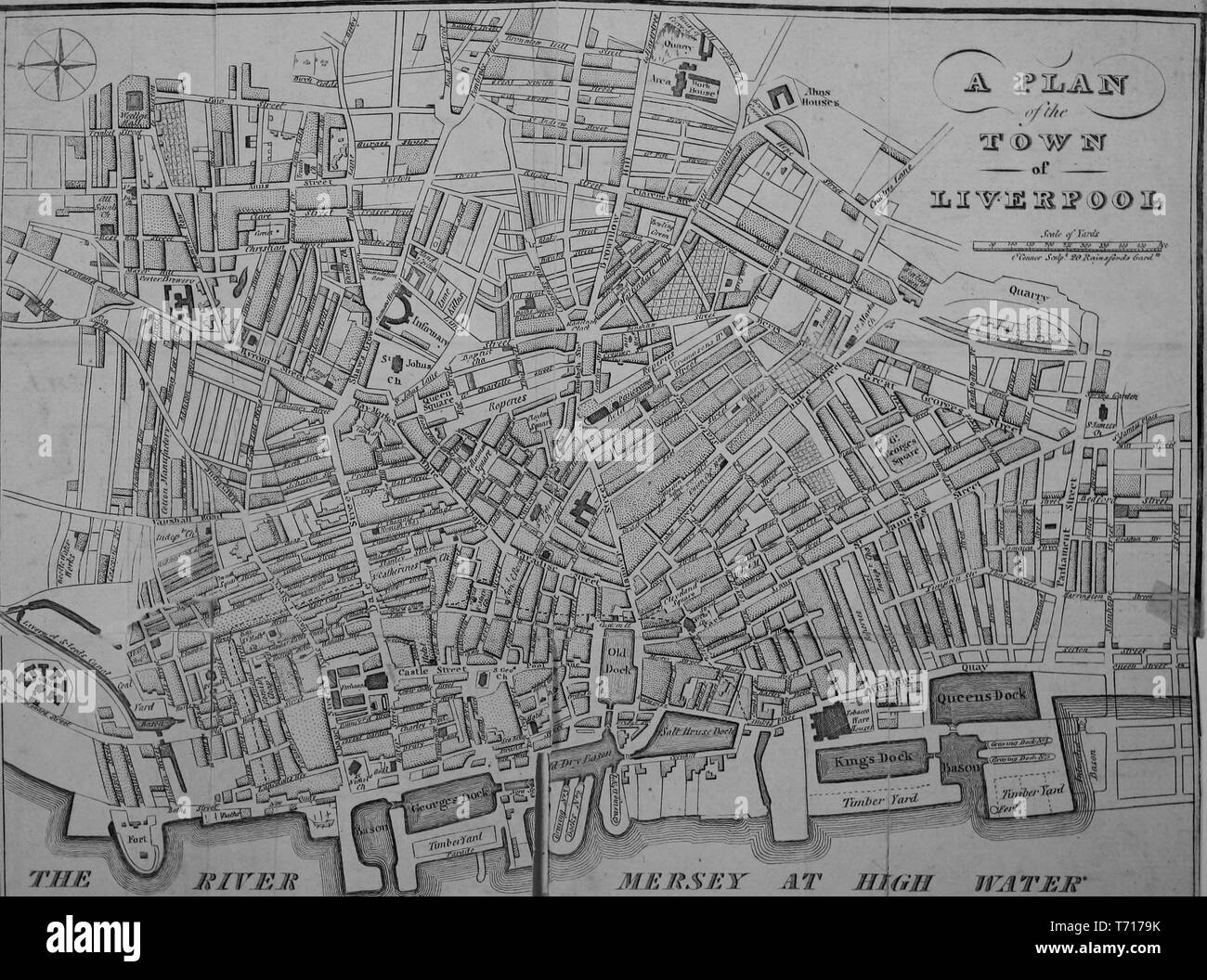 Engraved map of Town of Liverpool, England, from the book 'The picture of Liverpool' by Jones and Wright, 1808. Courtesy Internet Archive. () - Stock Image