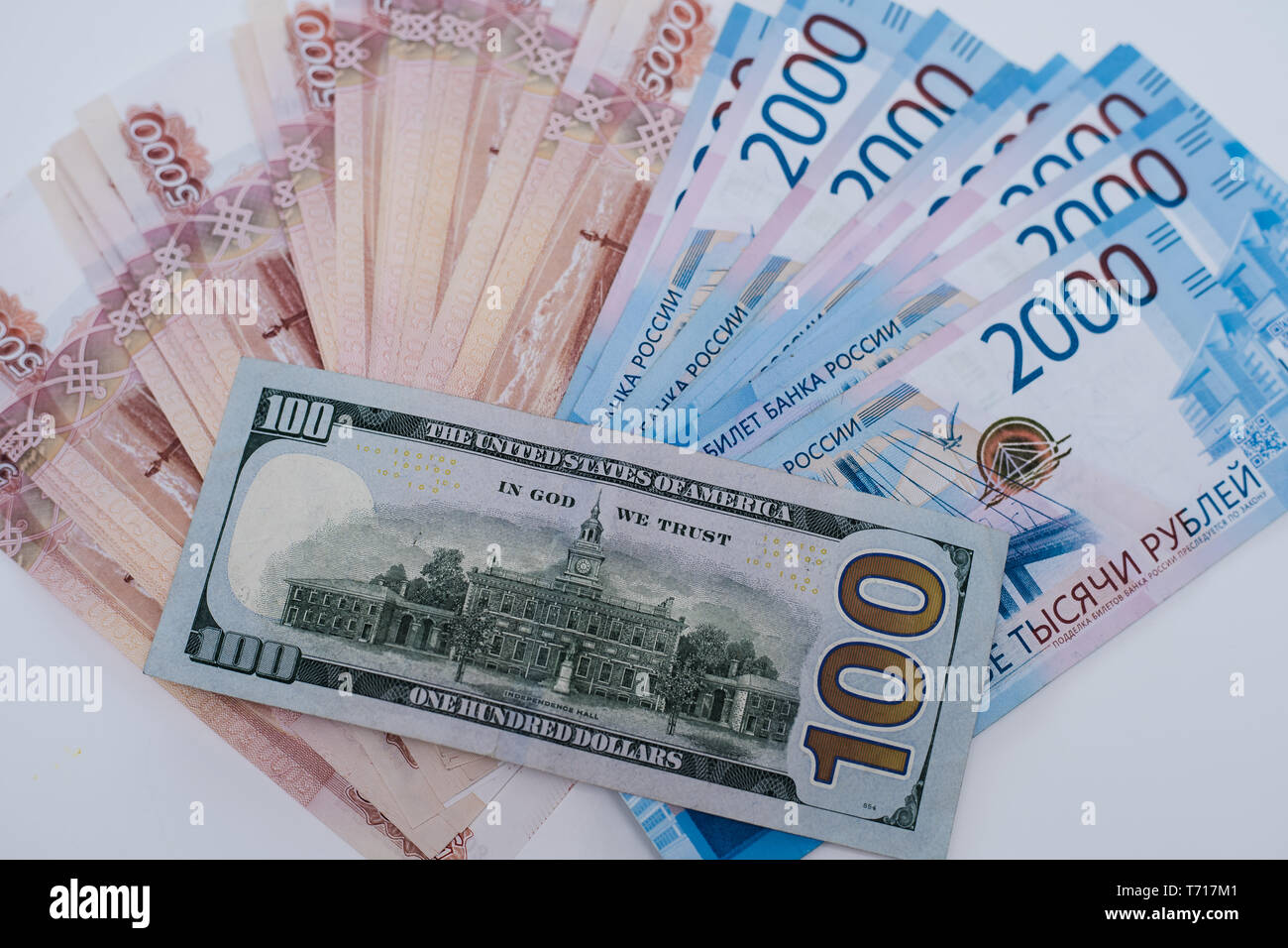 Five thousand rubles and one hundred dollars. Closeup. Stock Photo