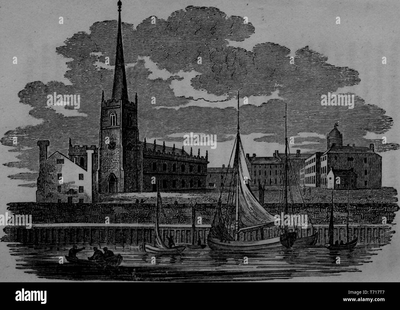 Engraving of the St. Nicola's Church or the old Church, from the book 'The picture of Liverpool' by Jones and Wright, 1808. Courtesy Internet Archive. () - Stock Image