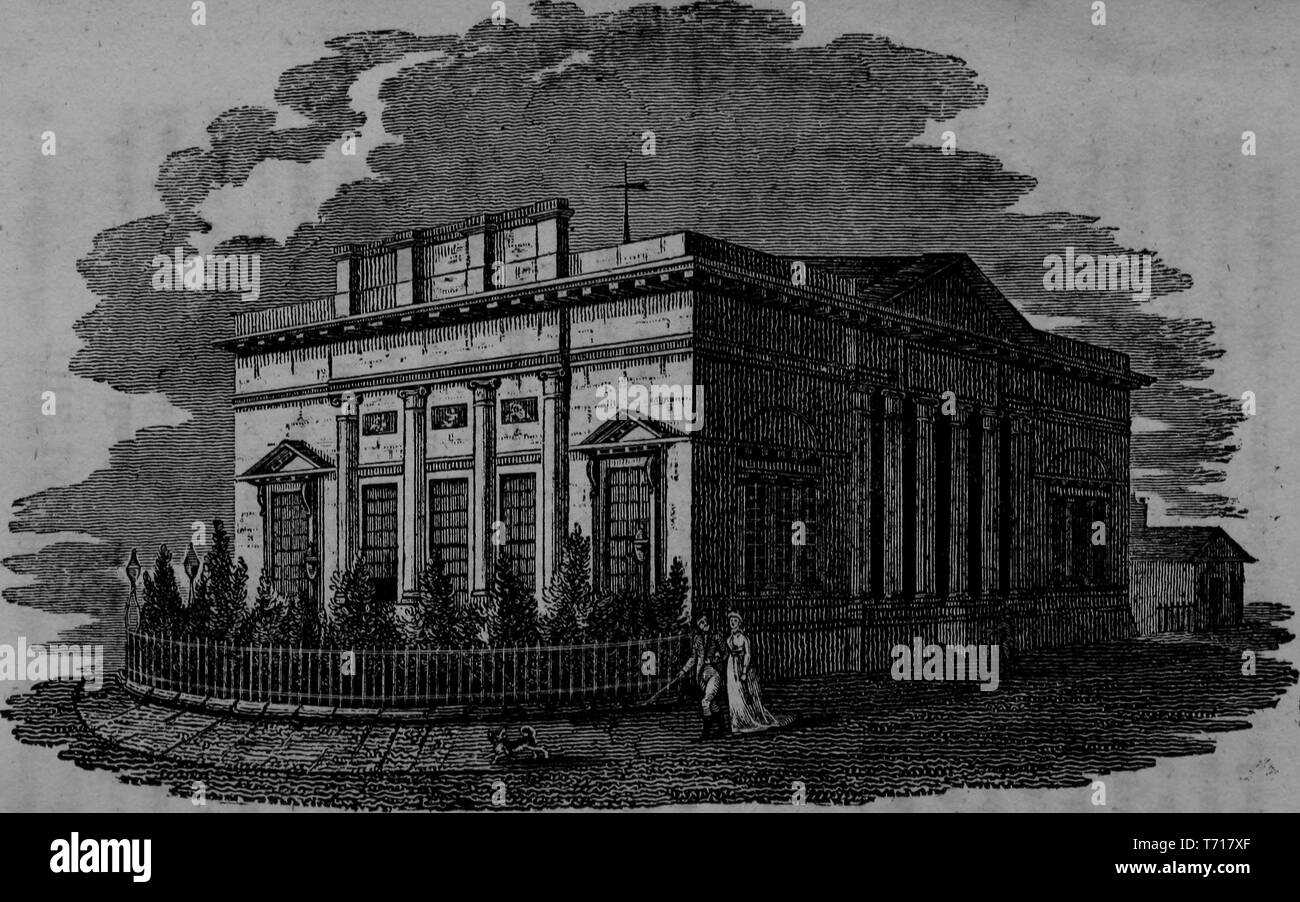 Engraving of the Lyceum building in Liverpool, England, from the book 'The picture of Liverpool' by Jones and Wright, 1808. Courtesy Internet Archive. () - Stock Image