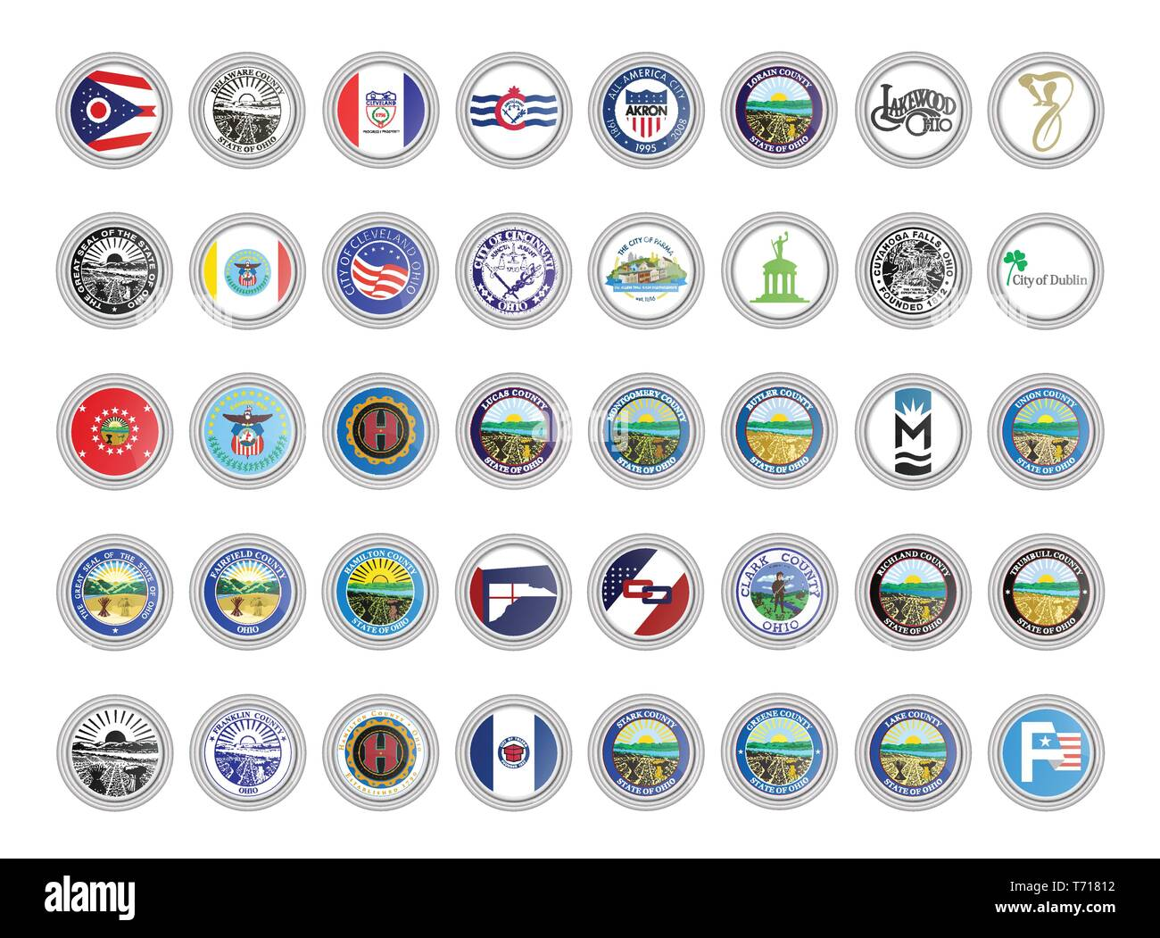 Set of vector icons. Flags and seals of Ohio state, USA. 3D illustration. - Stock Image