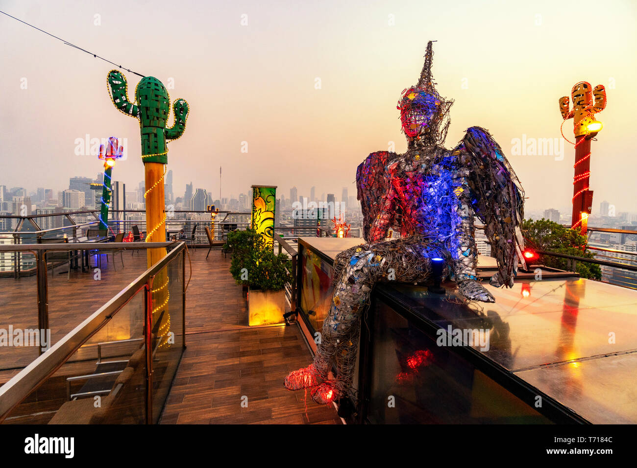 Roof Top Bar And Restaurant With Modern Art Siam Design Hotel In Bangkok Thailand Stock Photo Alamy