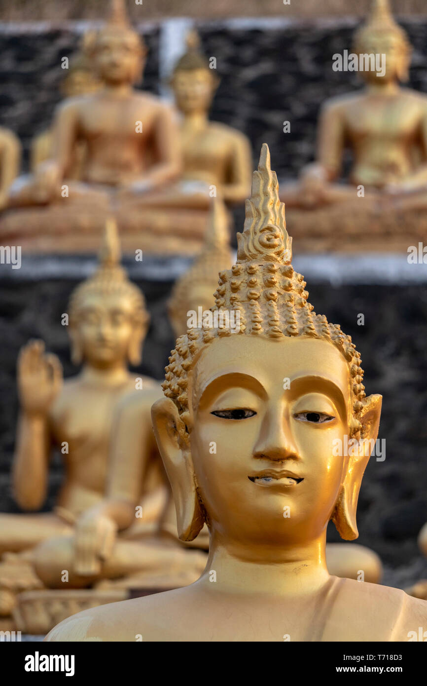 Golden Buddha Statues , Wat Phu Salao, Pakse, Laos, Indochina, Southeast Asia, Asia Golden Buddha Statues , Wat Phu Salao, Pakse, Laos, Indochina, Sou Stock Photo