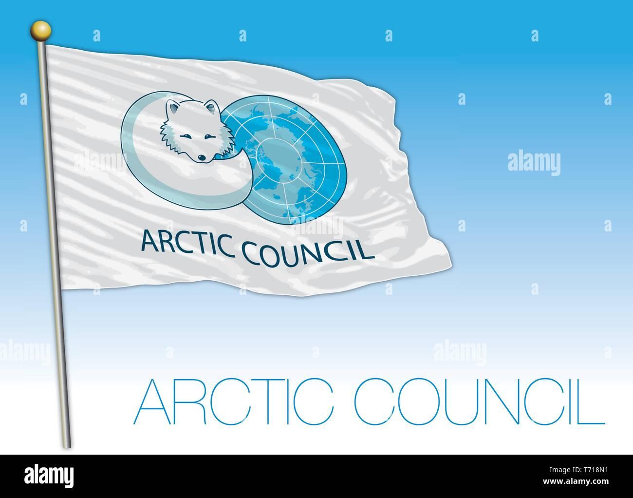 Arctic Council international organization flag, vector illustration - Stock Vector