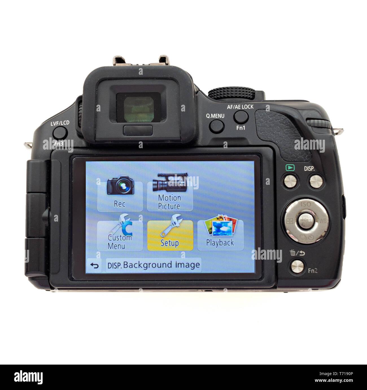 Rear LCD display screen of Panasonic Lumix G5 digital camera showing home page menu screen. - Stock Image