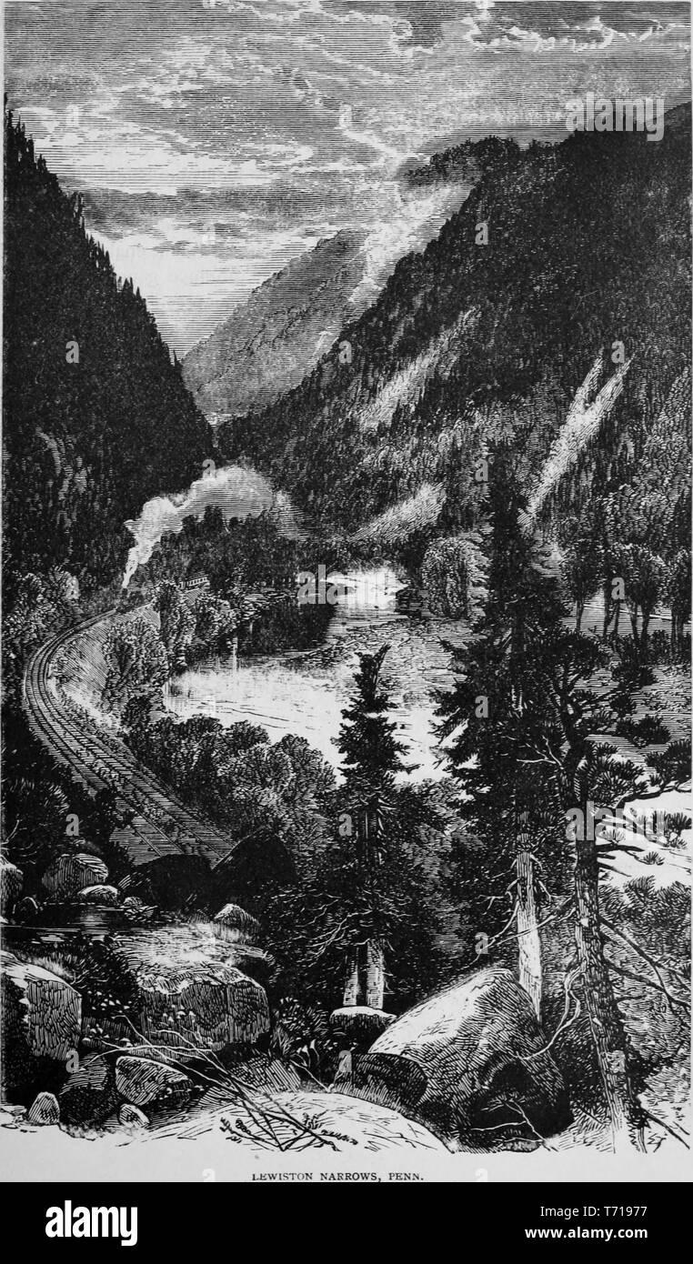 Engraving of a train passing Lewiston Narrows in Pennsylvania, from the book 'Industrial history of the United States, from the earliest settlements to the present time' by Albert Sidney Bolles, 1878. Courtesy Internet Archive. () Stock Photo