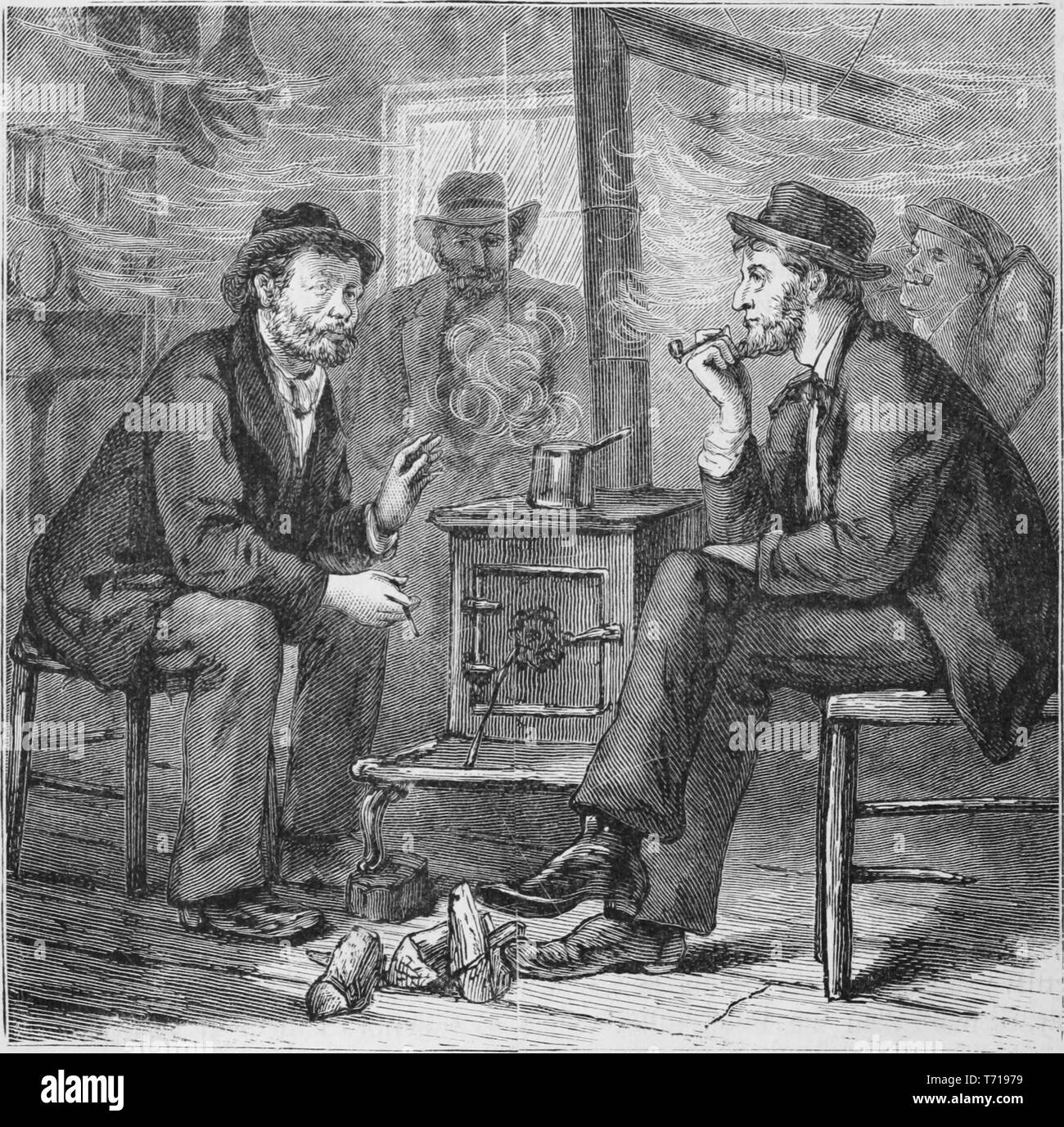 Engraving of four sailors sitting by the wood stove in a smoky room, from the book 'Industrial history of the United States, from the earliest settlements to the present time' by Albert Sidney Bolles, 1878. Courtesy Internet Archive. () - Stock Image