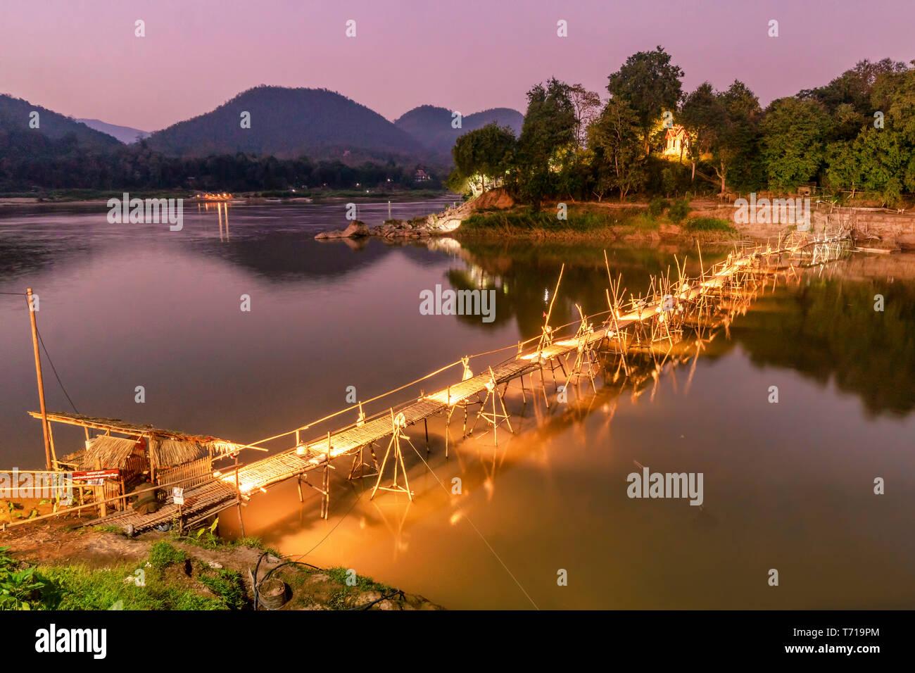 Bamboo bridge , Mekong river, Luang Prabang, Laos Stock Photo