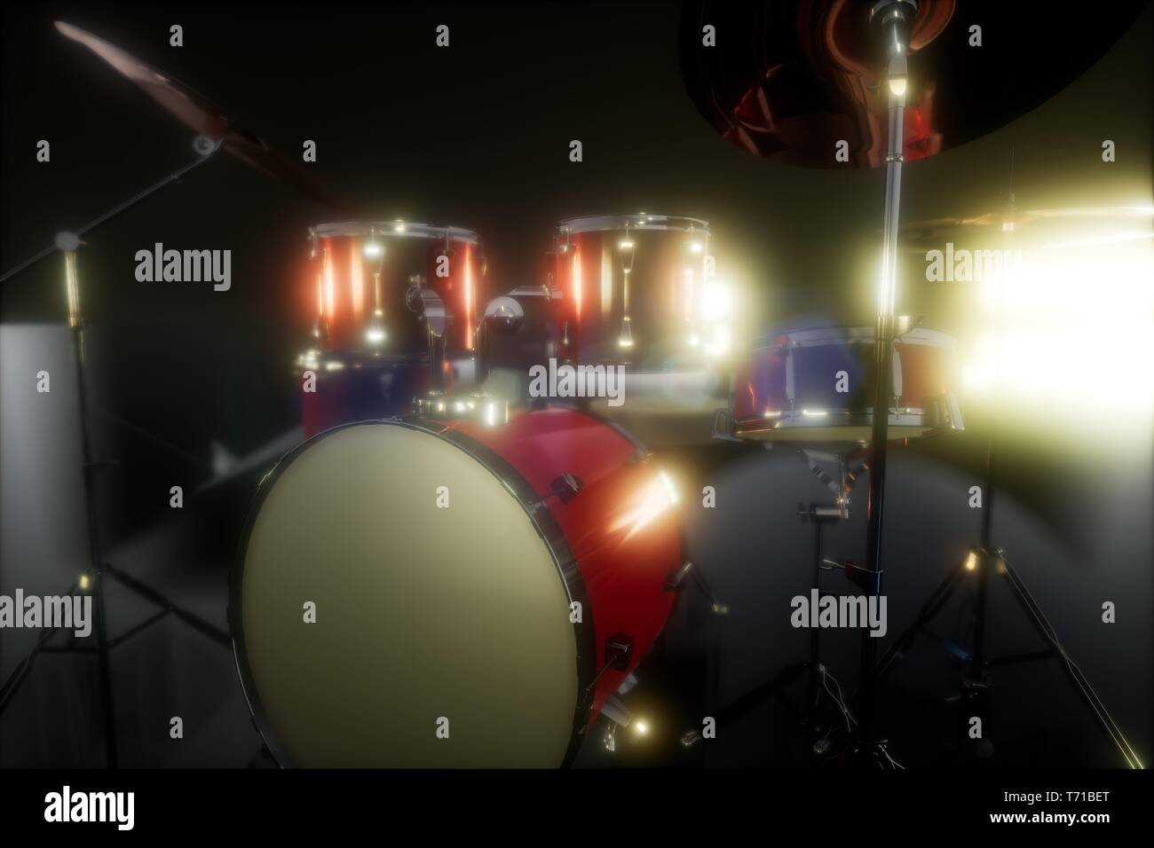 drum set with DOF and lense flair - Stock Image
