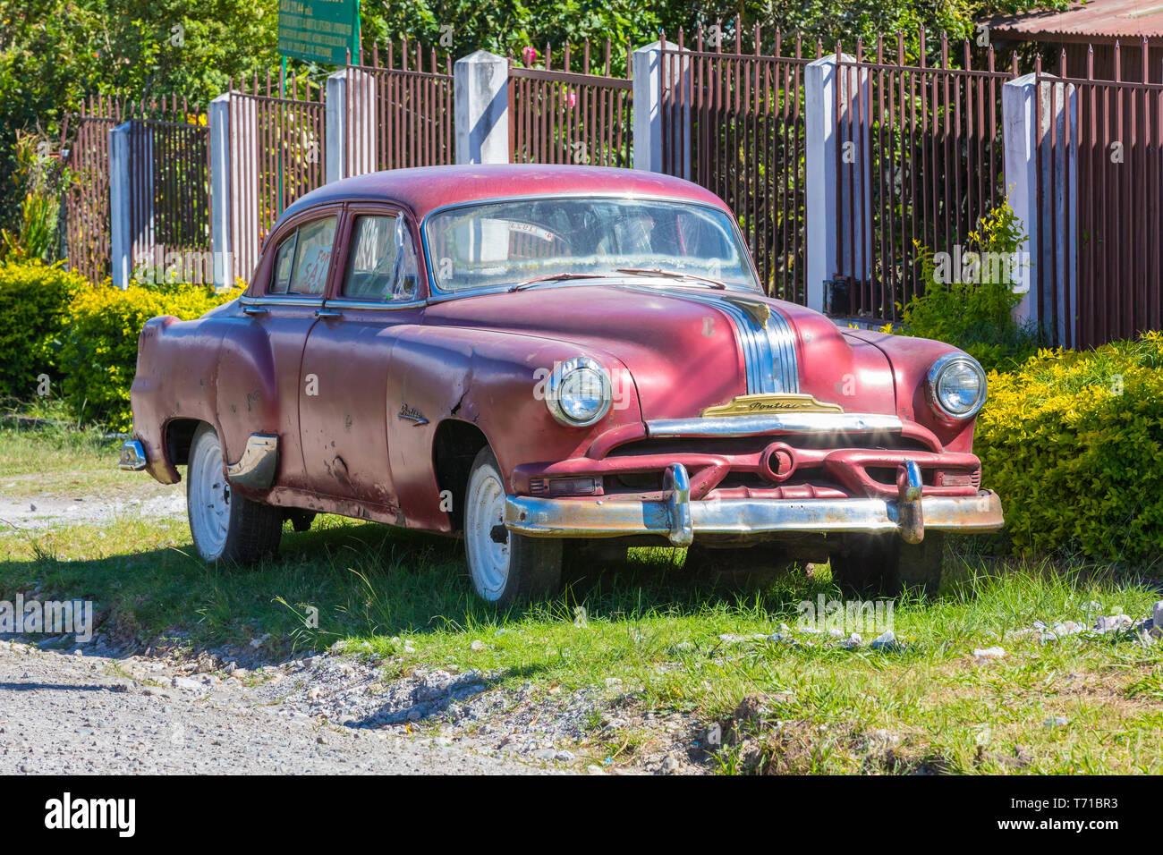 Old Red Pontiac Car Stock Photo Alamy