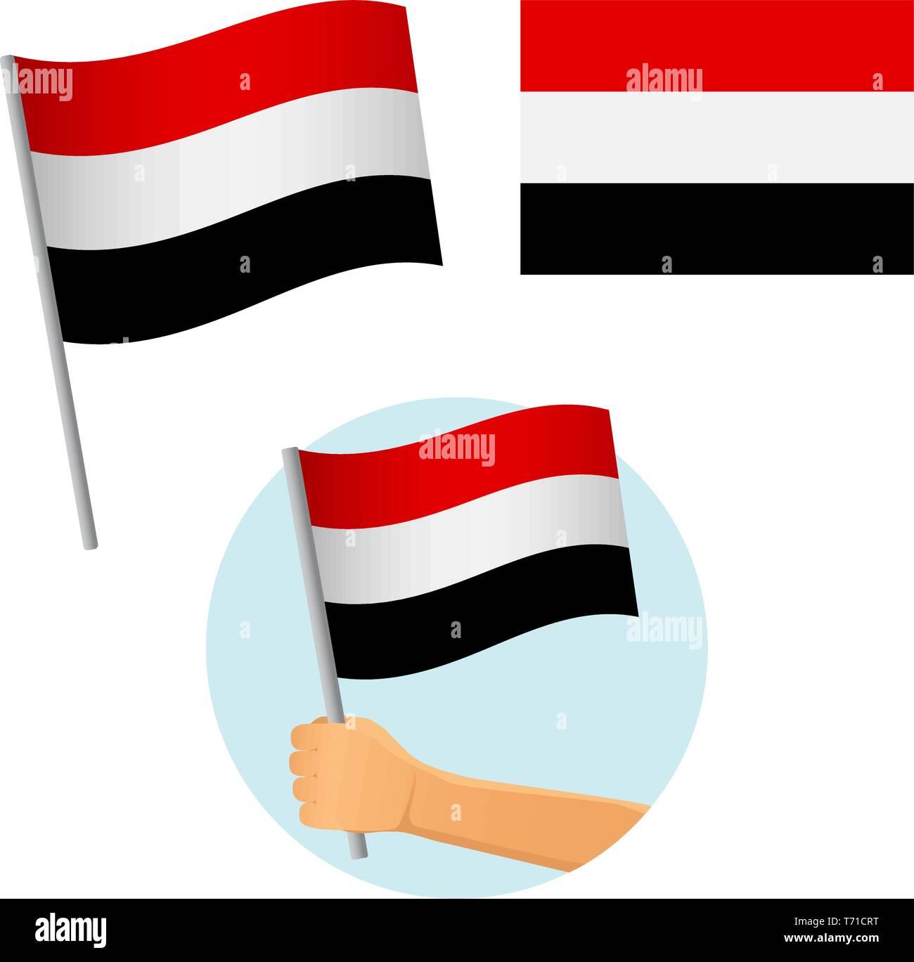 Yemen flag in hand. Patriotic background. National flag of Yemen vector illustration Stock Vector
