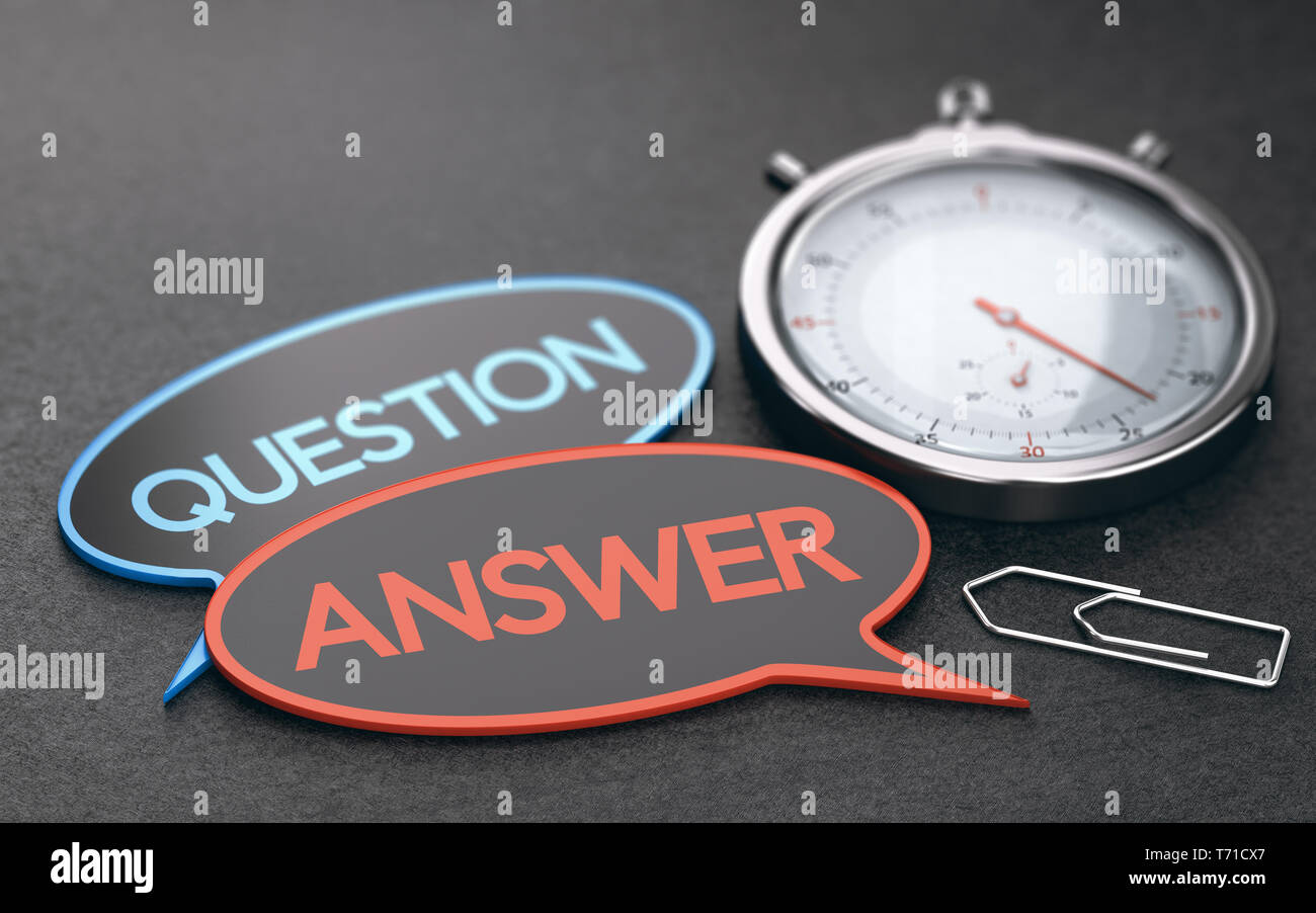 Stopwatch over black background with speech bubbles with the words question and answer. Concept of customer service wait times. 3D illustration - Stock Image
