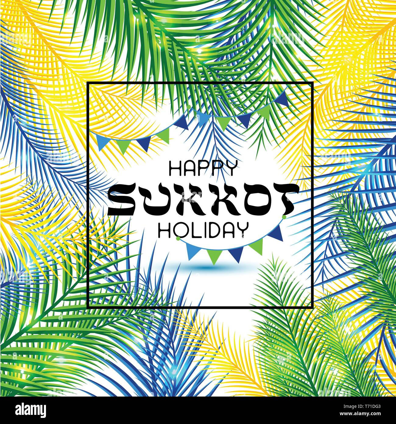 Vector illustration for the Jewish Holiday Sukkot. Hebrew greeting for happy sukkot. - Stock Vector